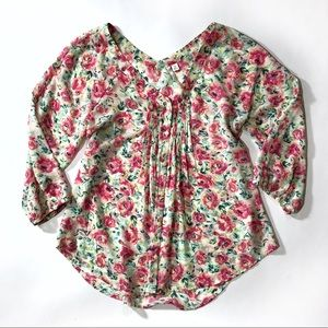 LC Lauren Conrad floral 3/4 sleeve boho blouse top